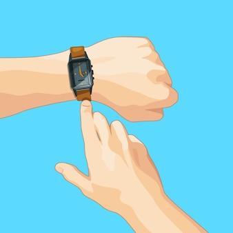 Bedrijfsconceptenbeeld met mechanisch handhorloge. illustratie isoleren. prikklok en horloge pols bij de hand