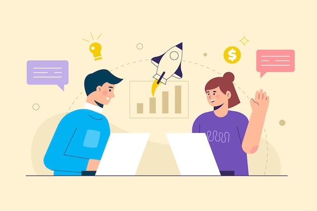 Bedrijfsconceptengroei en carrière vectorillustratie van een zakenman die met verhoging grafische grafiek loopt. discussie met teamlid. voor het mext-niveau.
