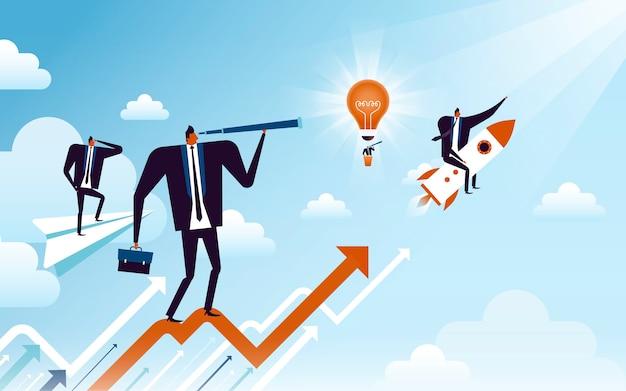 Bedrijfsconceptenillustratie, geschikte mannencollecties die de bedrijfsgroei vertegenwoordigen
