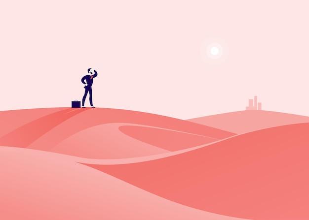Bedrijfsconceptenillustratie met zakenman die zich bij woestijnheuvel bevindt en op stad let.