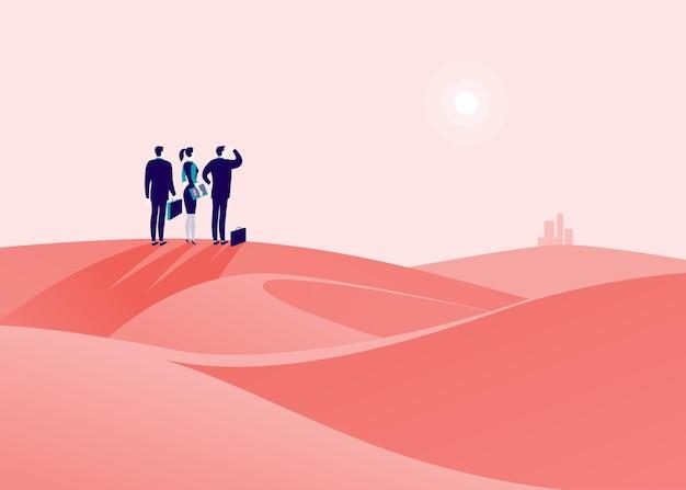 Bedrijfsconceptenillustratie met zakenmensen die op woestijnheuvel staan te kijken op horizonstad