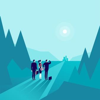 Bedrijfsconceptenillustratie met zakenmensen die zich bij bosrandversterker bevinden die op horizonstad kijken. nieuw doel