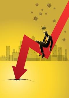 Bedrijfsconceptenillustratie van een gestresste zakenman gaat onder de neerwaartse pijl op de kaart zitten