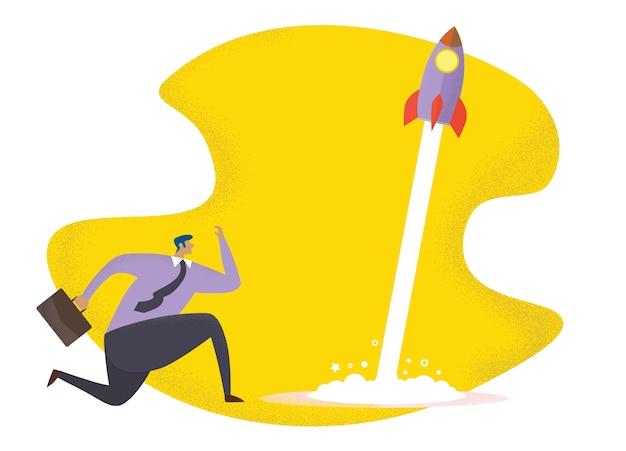 Bedrijfsconceptenillustratie van een lopende zakenman die met een raket rent