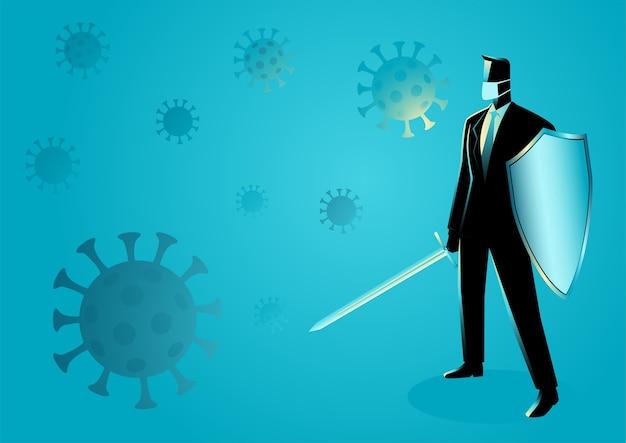 Bedrijfsconceptenillustratie van een zakenman die een zwaard en een schild, voorbereiding, bescherming, voorzorgsmaatregel tegen pandemie houdt