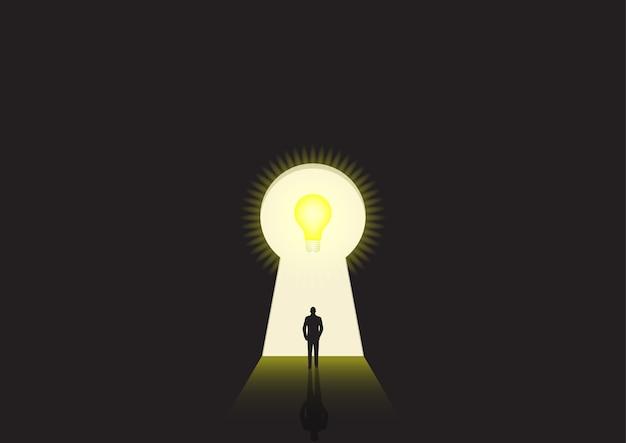 Bedrijfsconceptenillustratie van een zakenman die naar een helder sleutelgat loopt