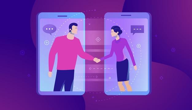 Bedrijfsconceptenillustratie van online communicatie.