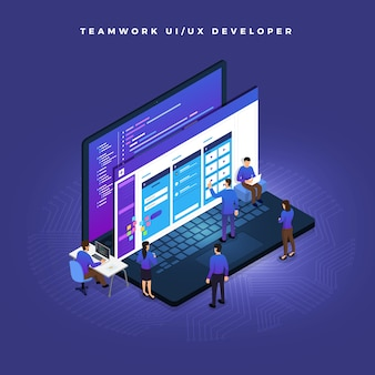 Bedrijfsconceptteamwork van mensen die ui / ux-ontwikkeling werken