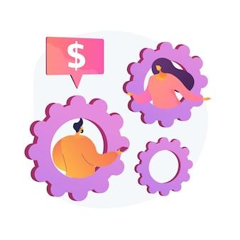 Bedrijfsconsulting. collega's bespreken financiële zaken stripfiguren. advies inzake geldbeheer, overleg met financierders, professionele ondersteuning. vector geïsoleerde concept metafoor illustratie