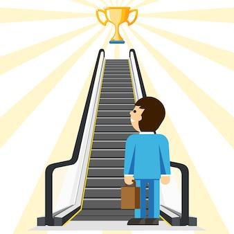 Bedrijfsconsulting. comfortabele weg naar succes. doel en beker, prestatie en trap, stapcomfort, zakenmanlift,