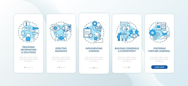 Bedrijfscounseling fasen onboarding mobiele app pagina scherm met concepten.