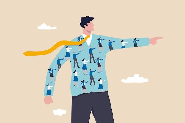 Bedrijfscultuur, mensen helpen bedrijf, ceo leiderschap of diversiteit en inclusief, concept voor mensenbeheer, medewerkers samen op zakenman wijzende vinger om bedrijfsrichting te leiden.