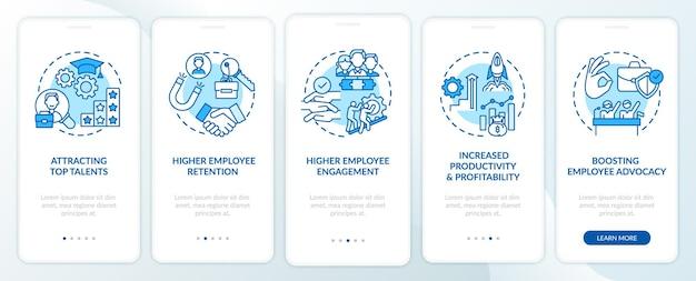 Bedrijfscultuur voordelen onboarding mobiele app paginascherm met concepten
