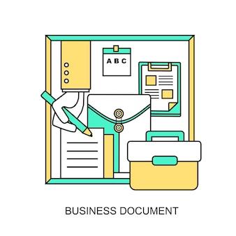 Bedrijfsdocumentconcept: een hand gaat een contract ondertekenen in lijnstijl