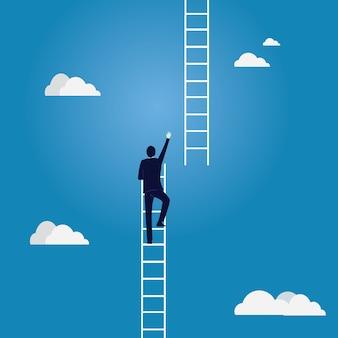 Bedrijfsdoelconcept. klimmen ladder naar de hemel