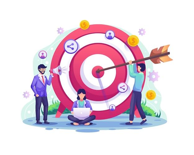 Bedrijfsdoelconcept, verwijzing en partnerpartnerschapsprogramma met mensen zetten darts op het dartbord