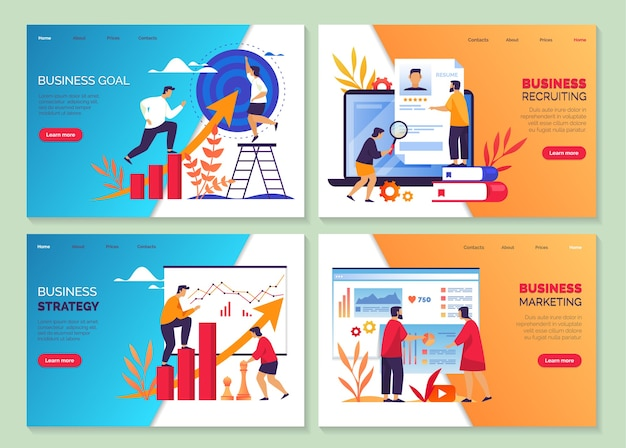 Bedrijfsdoelstrategie en marketingontwikkeling, prestaties op het gebied van carrière en marktgroei, webbanners.