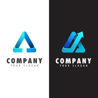 Bedrijfsdriehoek met pijllogo, letter a arrow logo collection