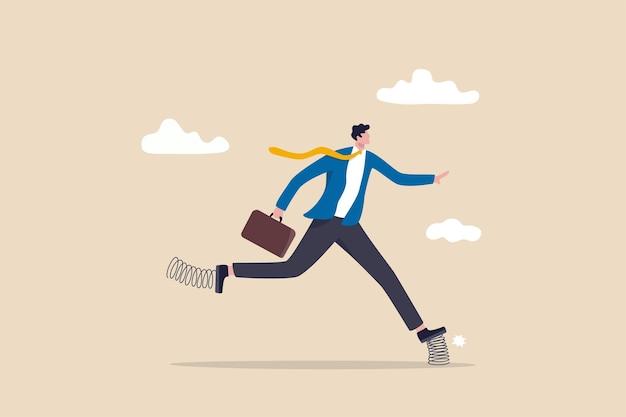 Bedrijfsefficiëntiebooster, verhoging van de productiviteit en verhoging van de prestaties, innovatie en zakelijk voordeelconcept, slimme zakenman die snel rent met elastische veer die op de schoenen stuitert.