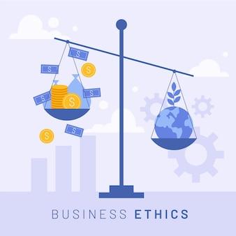 Bedrijfsethiek geld en aarde op schaal