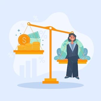 Bedrijfsethiekvrouw in aard of winst Gratis Vector