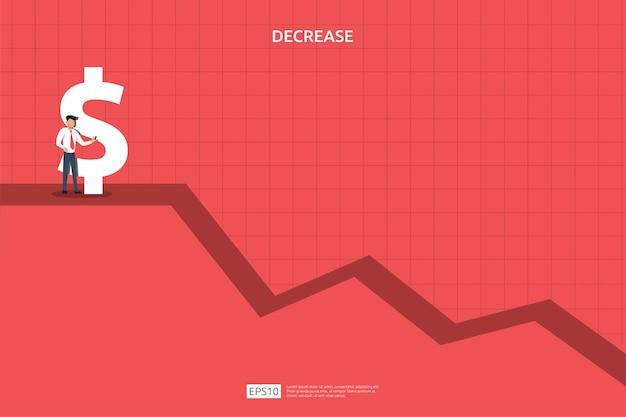 Bedrijfsfinanciën crisisconcept. geld naar beneden vallen symbool. pijl daling economie uitrekken stijgende daling. verloren crisis failliet dalend. kostenbesparing. verlies van inkomen. vectorillustratie.