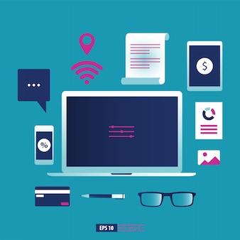 Bedrijfsgadget, smartphone, laptop en tablet met kantoorbehoeftenelement.