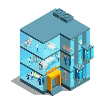 Bedrijfsgebouw met glazen kantoren en liften. isometrische architecturaal