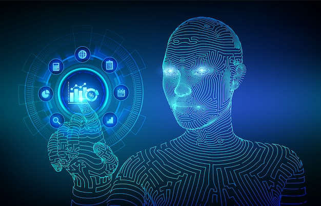 Bedrijfsgegevensanalyse en geautomatiseerd procesautomatiseringsconcept op virtueel scherm. wireframed cyborg-hand wat betreft digitale interface.