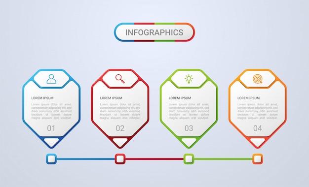 Bedrijfsgegevensvisualisatie, infographic malplaatje met 4 stappen op grijze achtergrond, illustratie
