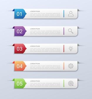 Bedrijfsgegevensvisualisatie, infographic malplaatje met 5 stappen op grijze achtergrond, illustratie