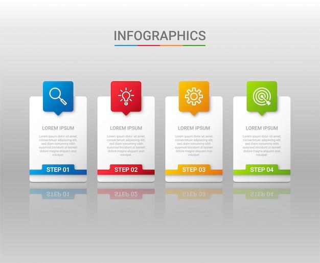 Bedrijfsgegevensvisualisatie, infographic malplaatje met stappen op grijze achtergrond, illustratie