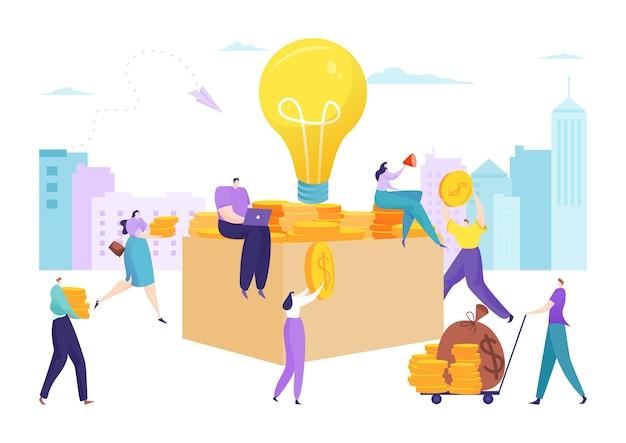 Bedrijfsgeldinvesteringen en crowdfundingmuntstuk in doosillustratie