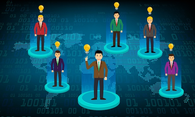 Bedrijfsgemeenschapsnetwerk met de wereldkaart