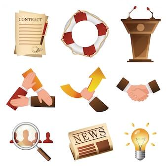 Bedrijfsgerelateerde objecten en mensenbeeldverhaalreeks. corporate life items illustratie pack in stijl