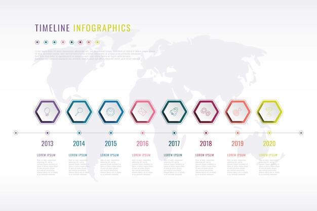 Bedrijfsgeschiedenis infographic met zeshoekige elementen, jaaraanduiding en wereldkaart op