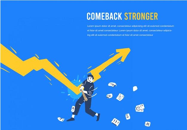 Bedrijfsgrafiek die positief na recessie potentiële illustratie wordt