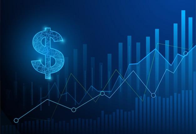 Bedrijfsgrafiekgrafiek van effectenbeursinvesteringen die op blauwe achtergrond handel drijven