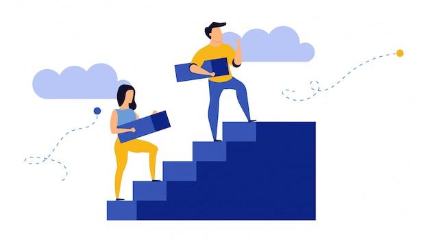 Bedrijfsgroei, man en vrouw op trappen