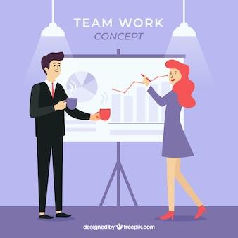 Bedrijfsgroepswerkconcept met vlak ontwerp