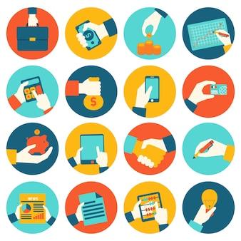 Bedrijfshanden financiële pictogrammen