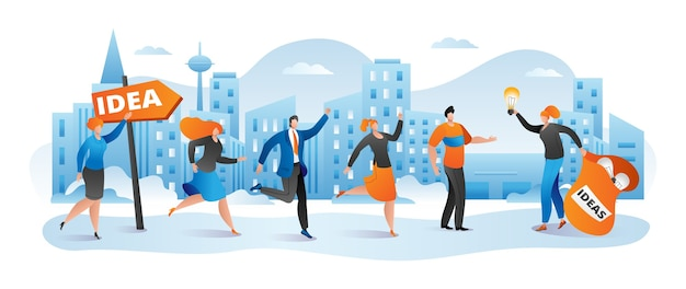 Bedrijfsidee voor creatief mensenkarakterconcept