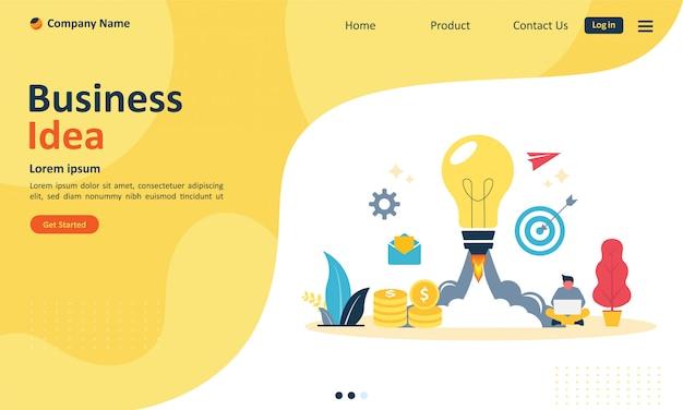 Bedrijfsidee voor webpagina-bestemmingspagina