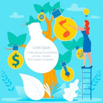 Bedrijfsideeënboom en beeldverhaalvrouw op ladder
