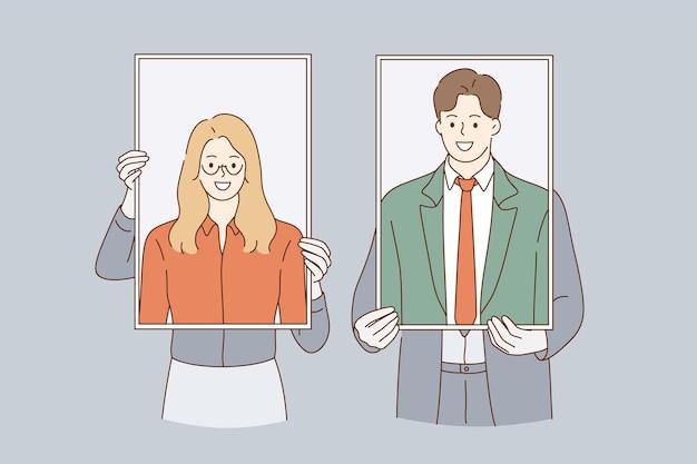 Bedrijfsidentiteit, zelfportretten, illustraties van vrouw en man.