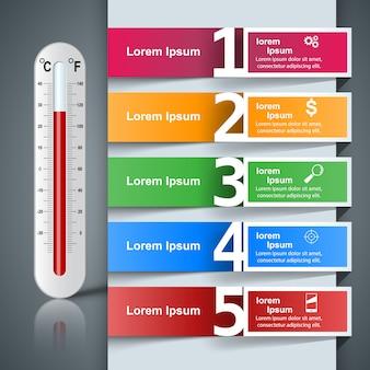 Bedrijfsillustratie van een thermometer