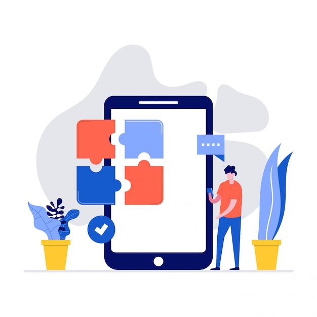 Bedrijfsillustratieconcept met karakter, smartphone en puzzel.