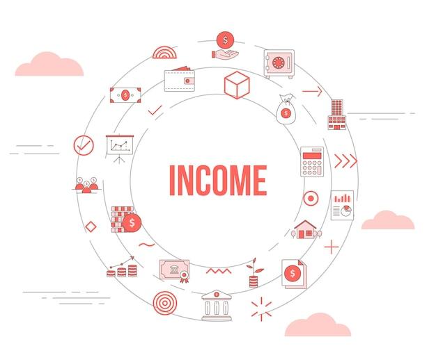 Bedrijfsinkomensconcept met pictogrammenset sjabloonbanner en cirkel ronde vorm