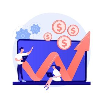 Bedrijfsinkomsten via internet. online geld verdienen. stripfiguur die met laptop werkt. programmeur freelancer. verdienen, investeren, financieel succes concept illustratie