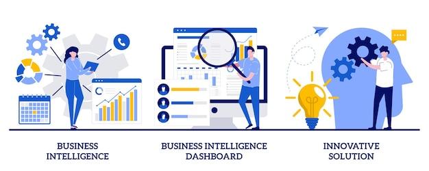 Bedrijfsintelligentie, intelligentiedashboard, innovatief oplossingsconcept met kleine mensen. prestatiehulpmiddelen en softwareoplossingen ingesteld. gegevensanalyse, kpi.